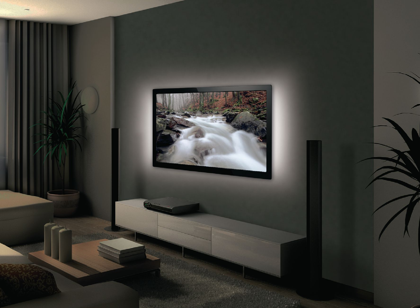 led tv hintergrundbeleuchtung weiss komplettset bis 127cm. Black Bedroom Furniture Sets. Home Design Ideas